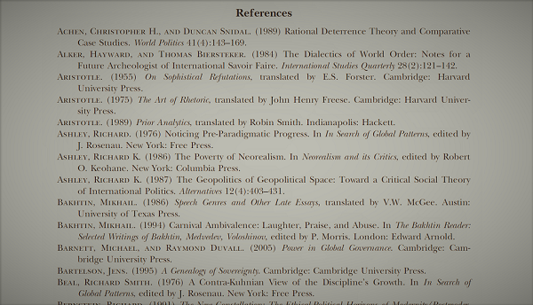 A bibliography of an academic paper